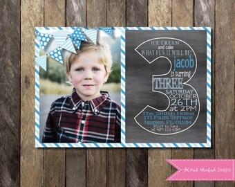 Chalkboard Invitation, Chalkboard Third Birthday Invitation, Third Birthday Invitation, Chalkboard Invite, Number Three, Chalkboard Birthday