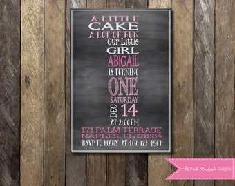 PRINTABLE  First Birthday Invitation - Chalkboard 1st Birthday Invitation Fully Customizable -  Girls Boys Birthday Party 4x6 or 5x7