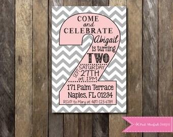 PRINTABLE Second Birthday Invitation - 2nd Birthday Invitation Chevron Fully Customizable -  Girls Boys Birthday Party 4x6 or 5x7