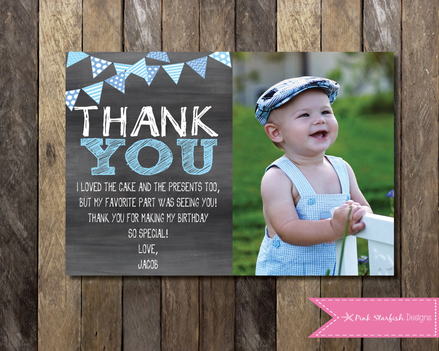 Chalkboard Thank You Card with Picture Chalkboard Thank You