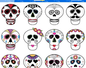 Sugar Skull Digital Clipart. Mexican Day of the Dead Digital Vector Sugar Skull Clip Art for Instant Download