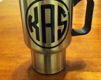Personalized monogrammed travel mug, stainless steel