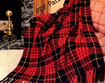 Tartan Plaid Vintage Afghan Highland Crochet Pattern PDF Instant Download