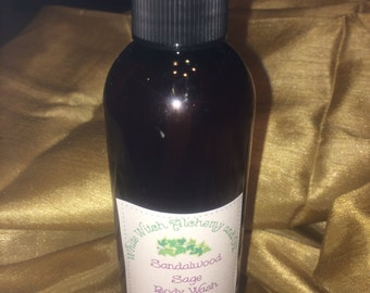 Organic Body Wash Sandalwood Sage Goats Milk and Shea Butter White Witch Alchemy