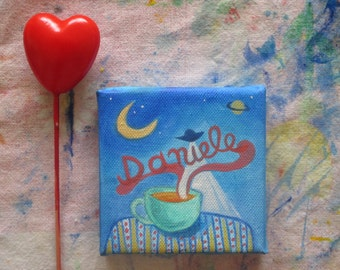 Valentines day women gift, custom name painting, personalized custom painting on canvas, romantic gift for her, personalized gift 10x10 cm