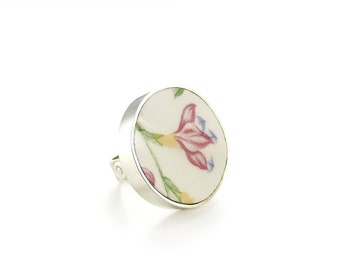 Porcelain Jewelry, Broken China Ring, Floral Ring, Pink Ring, Modern Broken China