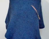 Navy alpaca wool mix poncho with side zip and front pocket