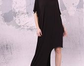 Black extravagant loose long asymmetrical dress with short sleeves, plus size tunic, oversized maxi dress/ loose dress - UM-027-VL