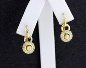 Cream Pearl with Diamond Halo in 14K Yellow Gold  Earrings