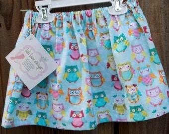 Girls Owl Skirt Owl Girls Skirt Whimsical Owls Skirt Owl Party Skirt Size 2T only Handmade Girls Owl Skirt Toddler Skirt Owl Outfit