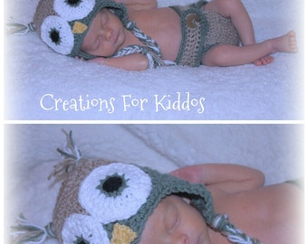 Crocheted Newborn Owl Hat and Diaper Cover