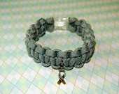 Brain Tumor Awareness, Gray Ribbon, Gray in May, Bracelet with Silver Ribbon
