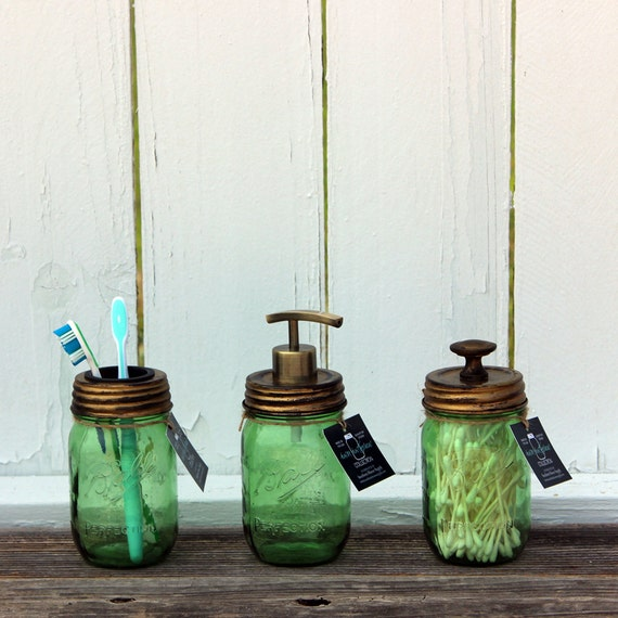 3 Piece Antique Gold Mason Jar Bath Accessory Set  (Green Jars) – Dispenser, Toothbrush, and Storage
