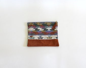 Repurposed Suede & Vintage Geometric Print Cotton Zipper Pouch Clutch, 10""
