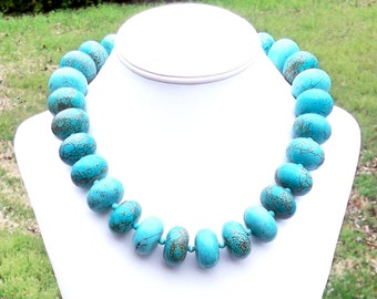 Chunky Turquoise Necklace Turquoise Statement Necklace 25mm Turquoise Beaded Necklace Large Gemstone Necklace Turquoise Rondel Necklace