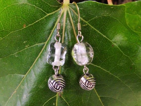 Clear Glass Dangle Earrings