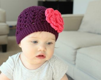 Baby Girl Hat, Newborn Girl Hat, Toddler Hat- Plum Hat with a Coral Flower