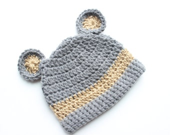 Bear Hat, Baby Bear Hat, Toddler Bear Hat- Grey with Tan Accents
