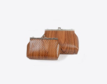 bag vintage style in wood, bag eco friendly, vegan purse, true wood bag Organic bag  in Wood -  faux leather - quality handmade in Italy