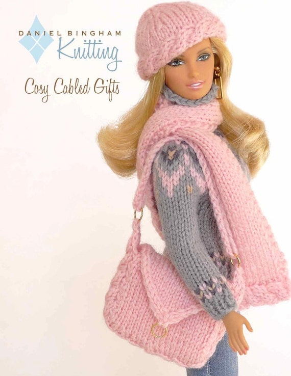 Chunky Infinity Scarf Knit Pattern : Knitting pattern for 11 1/2 doll Barbie: Cosy Cabled