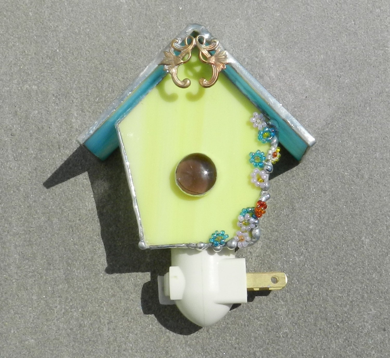 Bird house night light stained glass birdhouse - Birdhouse nightlight ...