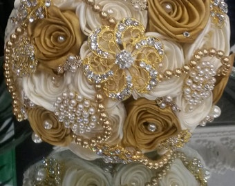 Brooch Bouquet, Gatsby Bouquet, Gatsby Wedding, Gold & Ivory Brooch Bouquet, Deposit Only,