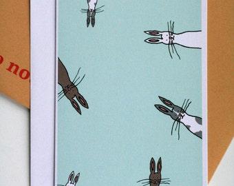 Bunnies (green) Illustration A6 Card
