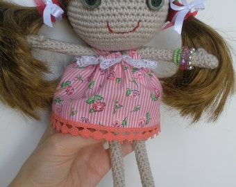 """Brown Hair Doll """"Doris"""" / Handmade Doll / Amigurumi Doll / Gifts for Girls / Doll with Pigtails / Unique Doll / Crocheted Doll / Cute Dolls"""