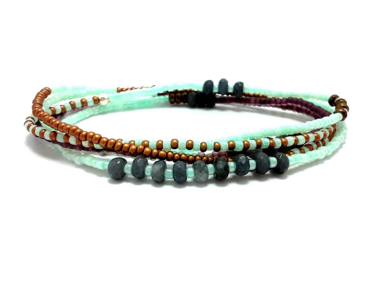 multi strand seed bead bracelet stretch wrap beaded by