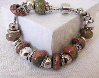 "Unakite European Charm Bead Bracelet 8"" wrist - birthday - anniversary - mothers day - graduation - gemstones - 8.75 inch, ID 182610936"