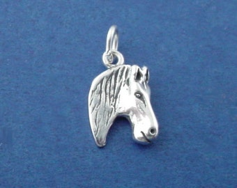 HORSE HEAD Charm .925 Sterling Silver Pendant - sc154