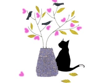 Valentine's day  BLACK CAT loves pink hearts . A cat admiring pink heart shaped flowers in a vase. .Printed card from collage original.