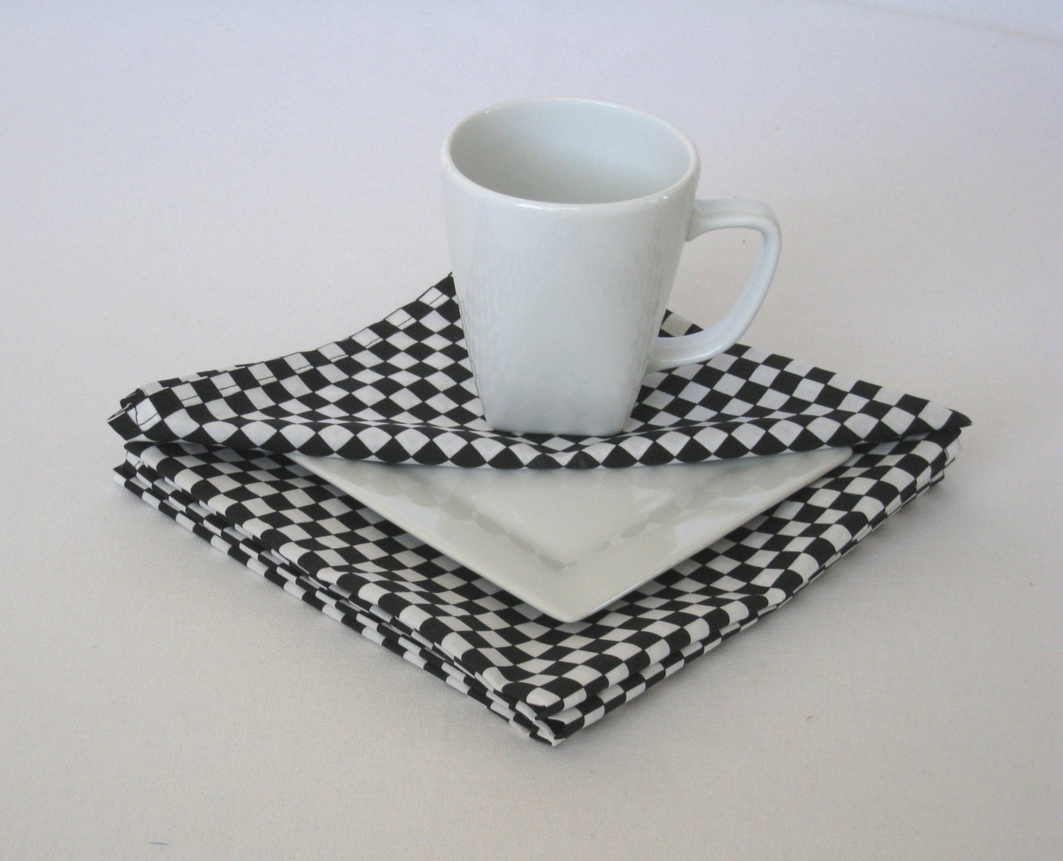 Checkered Cloth Napkins Black And White Cotton Napkins