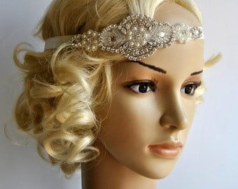 Crystal Pearls Rhinestone , Bridal Headband, Wedding Headband, Wedding Headpiece, Halo Bridal Headpiece