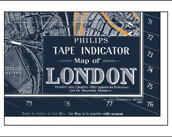 London Map, Map of London, London Blueprint, England Map, London Print, London Poster 1935