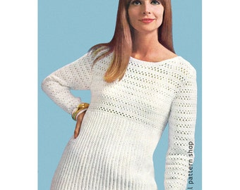 Womens Crochet Sweater Pattern 1960s Pullover Top Crochet Pattern PDF Instant Download Size 10 to 20- C79