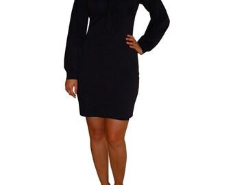 Black Tie Neck Shift Dress, bishop sleeves, little black dress, LBD, long sleeve, knee length, de almeida designs