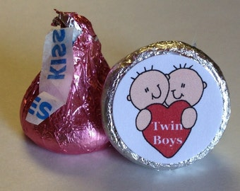 Heart Twin Boys ~ Its A Boy ~ 108 Hershey Kiss Candy Label Stickers