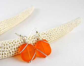 Orange sea glass earrings orange sea glass jewelry wire wrapped earrings sterling silver wire wrapped jewelry bridesmaids earrings wedding