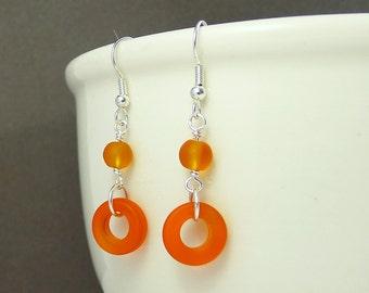Unique orange earrings sea glass earrings seaglass earrings sea glass jewelry seaglass jewelry frosted glass jewelry beaded earrings gift