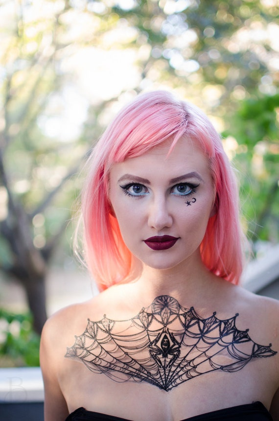 Items similar to lace spiderweb halloween large temporary for Halloween makeup tattoos