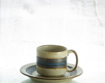 Charming retro stoneware cup and saucer, brown and blue stripes.