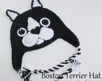 Boston Terrier Crochet Hat / Dog Breed Hat, Puppy hat, Dog hat, Handmade, Beanie, Earflaps (MADE TO ORDER)