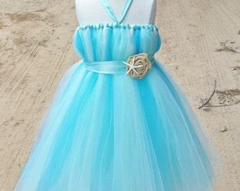 Beach wedding flower girl dress, aqua flower girl dress, blue tutu dress, NB toddler and girl sizes