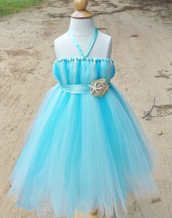 Items similar to beach wedding flower girl dress aqua for Flower girl dress for beach wedding