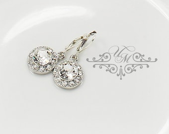 Wedding Jewelry Wedding Bridal Earrings Bridesmaids Earrings Swarovski Crystal Dangle Earring Rhinestone Earrings diamond look - ORLA