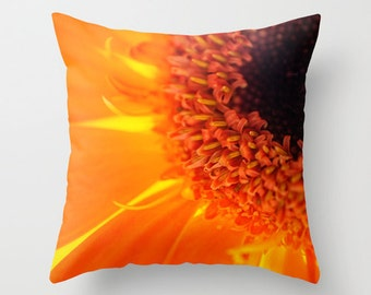 Orange Pillow Cover, Macro Photography, Daisy Flower, Unique Photo Decor, Indoor Pillow, Outdoor Porch, Orange and Brown, Small or Large