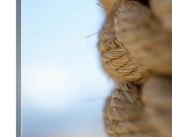 Large Beach Canvas, Nautical Rope, Macro Photography, Canvas Wrap, Abstract Ocean, Summer Beach Photo, Canvas Print, Pictures on Canvas