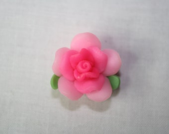 22mm Pink Polymer Clay Flower With Hole