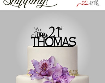 21st Birthday Cake Topper Personalized Name Cake Topper - Custom Cake Toppers